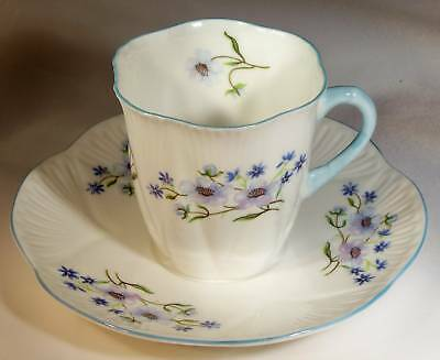 Shelley England Fine Bone China Blue Rock Dainty Demitasse Cup & Saucer Set!