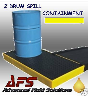 1 x 2 Barrel Drum BUNDED WORKFLOOR OIL - CHEMICAL STORAGE BUND containment