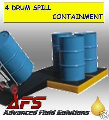 1 x 4 Drum Bunded Workfloor Oil Chemical Storage Spill Bund Sump Containment UK