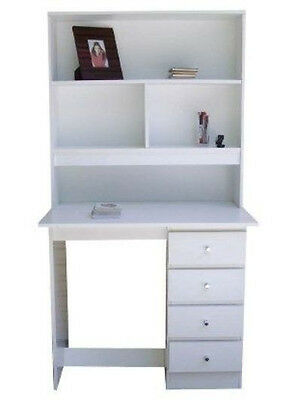 Brand New Desk and Hutch with shelves In White/4 Drawers Del Syd Mel Brisb/P/up