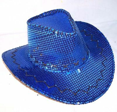 50d38835 SEQUIN BLUE COWBOY HAT cowgirl hats western pageant caps cowboys rodeo head  wear