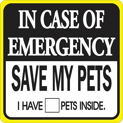 In Case Of Emergency Save My Pets Sign