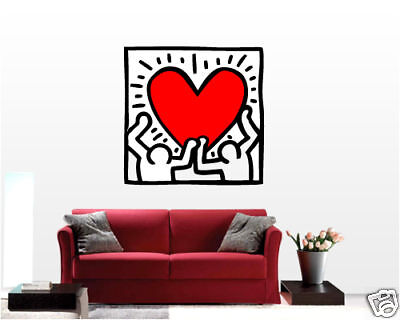 wall sticker stickers arte adesivi murali kaith haring funlife 36 quot x 45 quot 92x114cm united heart by keith
