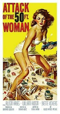ATTACK OF THE 50 FT WOMAN MOVIE POSTER VINTAGE 19x36 in