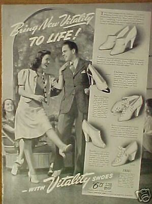 1940 Vitality Womens Shoes WWII Fashion Photo Style Ad