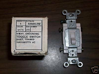 LEVITON 545042W 15 Amp 4 Way Commercial Toggle AC Quiet Switch 120