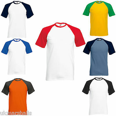 Fruit Of The Loom Short Sleeve Baseball T Shirt New 8 Colours S-Xxl