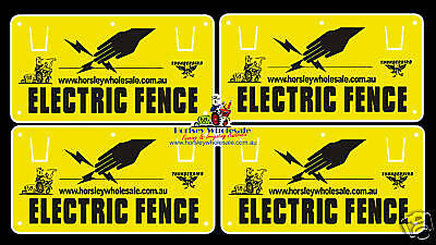 4x Electric Fence WARNING SIGNS RRP$19.00  Farm/ Fencing Safety