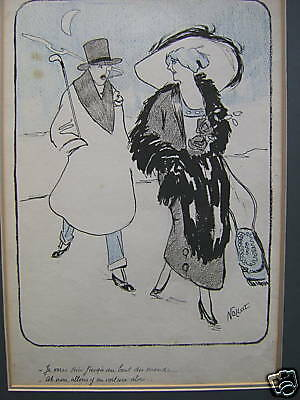 France Art Deco Illustration Ink Crayon C1925 Nollat