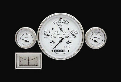 Classic Instruments 1957 Chevy 3 Gauge Set White Hot Series + Electronic Clock