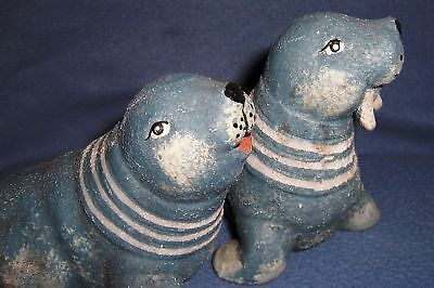 WALRUS Seal couple pair blue white TUSK figures ocean