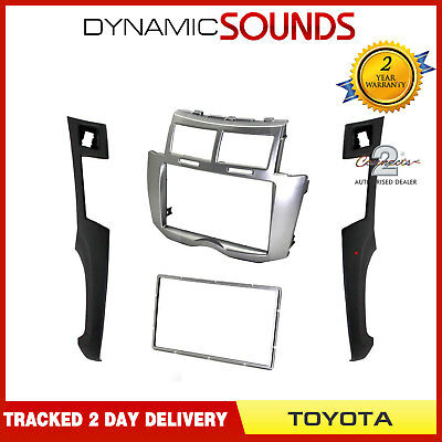 CT24TY22 Silver Double Din Fascia Trim Panel Adaptor For Toyota Yaris 2007-2011