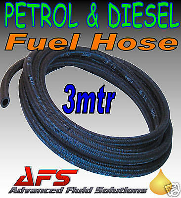 3M x 3.5mm ID BRAIDED PETROL DIESEL FUEL LINE HOSE PIPE
