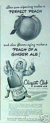 1944 Clicquot Club Ginger Ale Soda Eskimo Peach Art AD