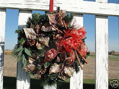 Copper Poinsettias Cinnamon Sticks Wreath Very Elegant Welcome Home Door Decor