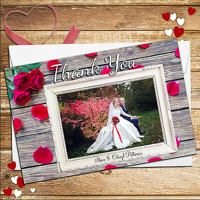 10 Personalised Red Roses Wedding Thank You PHOTO Cards No103 Inc Envelopes
