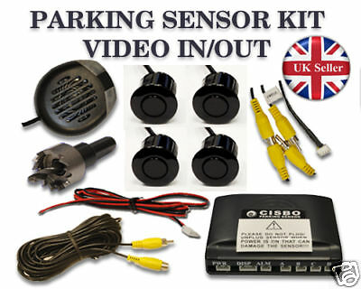 Parking Reversing 4 Sensors Video In & Out Buzzer Alarm