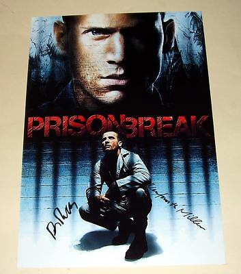 "Prison Break Cast X2 Pp Signed Poster 12X8"" Wentworth"