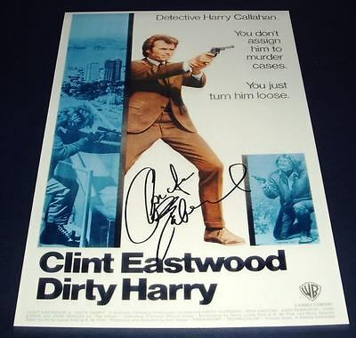 Dirty Harry Movie Cast Pp Signed Poster 12X8 Clint