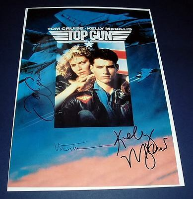 TOP GUN CAST x3 PP SIGNED MOVIE POSTER 12X8 CRUISE