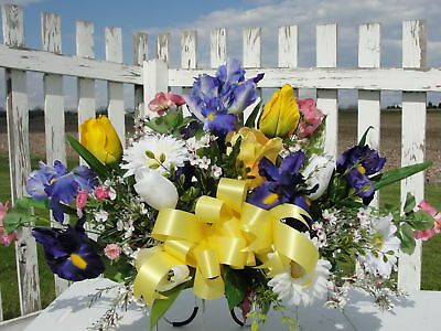 Memorial Grave Cemetery Tombstone Saddle Easter Spring Summer Flower Mothers Day