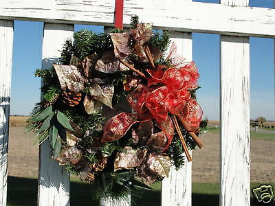Copper Poinsettias Cinnamon Sticks Pine Wreath Elegant & Glittery Wall / Door
