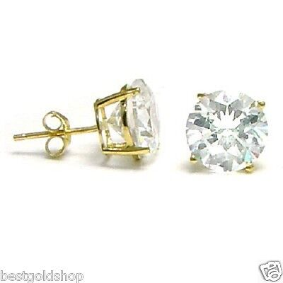 NEW Solid Stud Round CZ Earrings 14K Yellow Gold 7mm