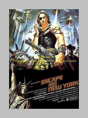 ESCAPE FROM NEW YORK X3 PP SIGNED POSTER 12X8 carpenter