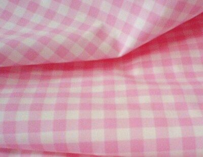Polyester Lining Fabric -  Pink Gingham Check - 145cm Wide - New by Dcf