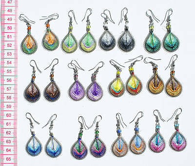 12 Pairs Color Peruvian Thread Small Earrings Wholesale