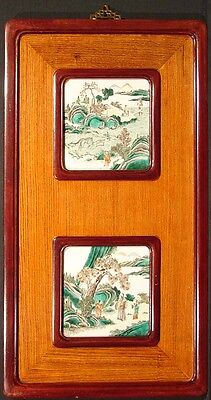 Pair of  Landscapes, Antique 19th cent. Chinese Porcelain Art, Framed MAKE OFFER