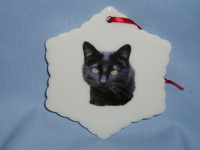 Black Cat Snowflake Christmas Tree Ornament Porcelain Fired Head Decal-H