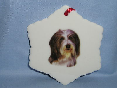 Bearded Collie  Dog Porcelain Snowflake Christmas Tree Ornament Fired Decal-H