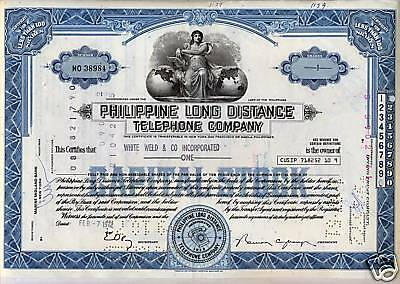 Philippine Long Distance Telephone Stock Certificate
