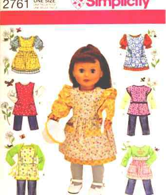 """Simplicity 2761 18"""" Doll Clothes & Aprons Pattern"""