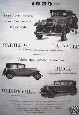 1929 CADILLAC LA SALLE BUICK OLDSMOBILE advertising