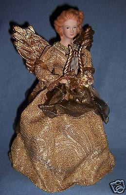 NEW Gold brocadeDress ANGEL 12 inch w/ HARP SWEET FACE