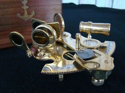 "4"" Nautical Brass Sextant w/ Box - Sextent Astrolabe"