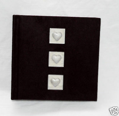 Black Velvet Hard Cover Photo Album Pearl Hearts *100 slip 4x6 in NIB Memo Lines