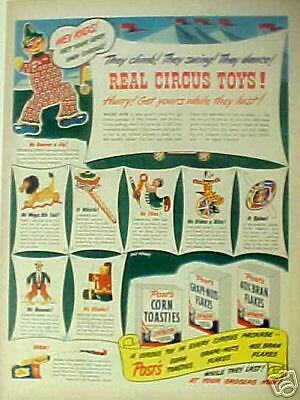 1947 Post Cereal Circus, Clowns Toys Premiums Print AD