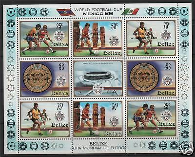 Belize 1986 World Cup Winners ovpt Sheet SG945a MNH