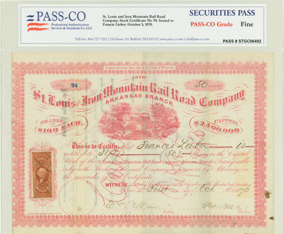St. Louis And Iron Mountain RR Issued to Francis Lieber