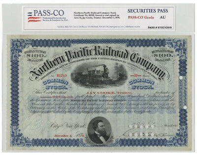 NP Railroad Issued To & Signed By Jay Cooke