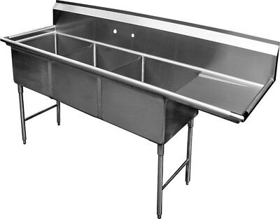 "3 Compartment S/S Sink 15""x15"" with Right Drainboard"