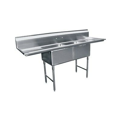 "2 Compartment Stainless Steel Sink 24""x24"" 2 Drainboard"