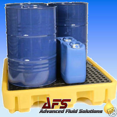1x 4 DRUM BUNDED SPILL PALLET OIL CHEMICAL STORAGE BUND