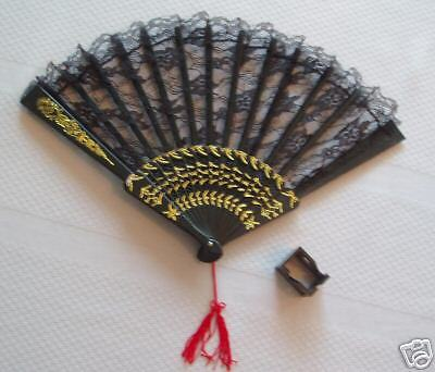 Black Lace Fan w/ Stand!