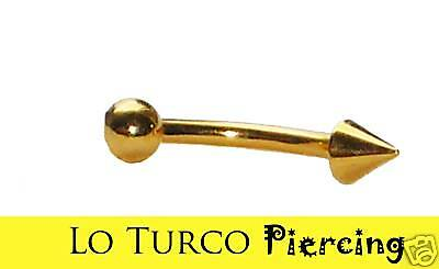 PIERCING ORECCHINO O SOPRACCIGLIO 8 mm IN TITANIO GOLD BANANA BALL SPIKE eyebrow