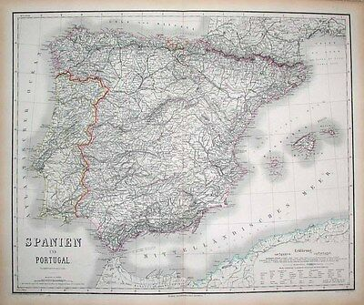 1871 Weimar Map SPAIN & PORTUGAL Enormous Detailed RARE