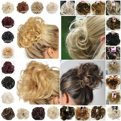 Synthetic Elasticated Hair Scrunchie Wrap Hair Piece Curly Wavy Straight Spiky